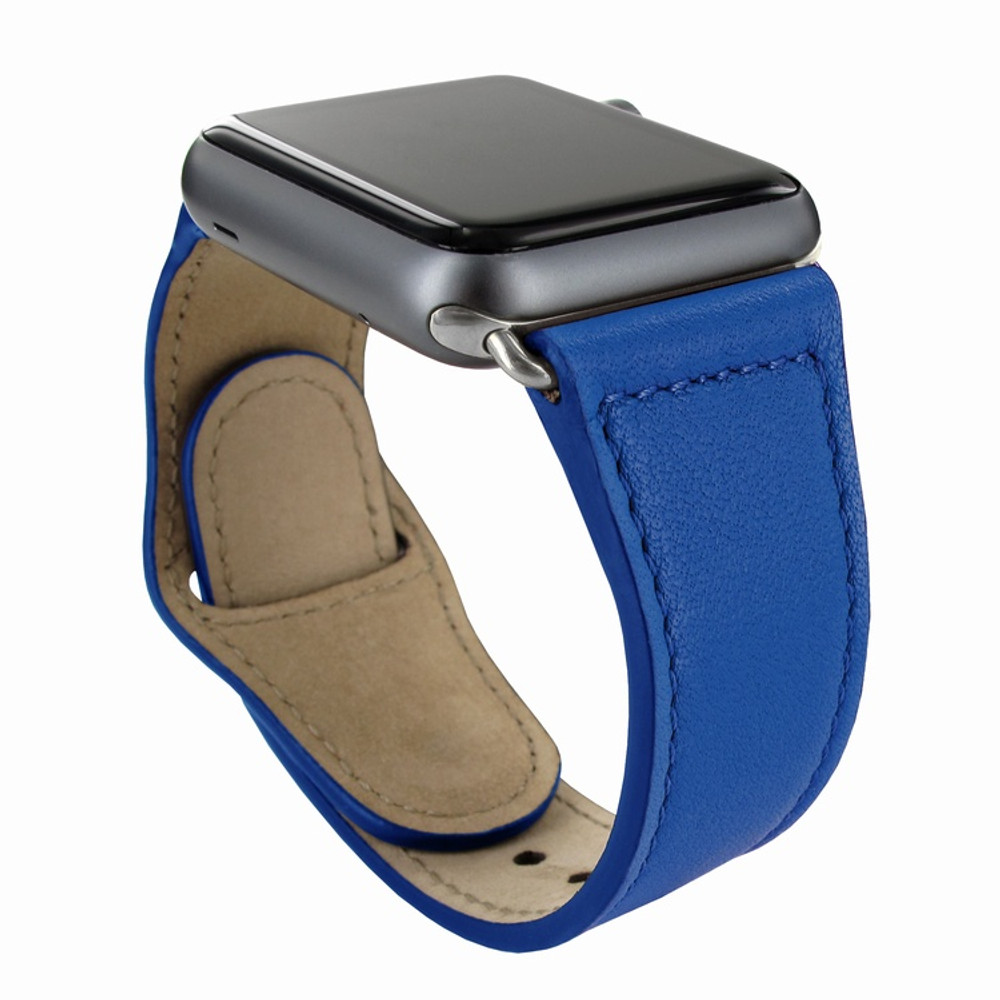 Piel Frama Apple Watch 38 mm Leather Strap - Blue / Silver Adapter