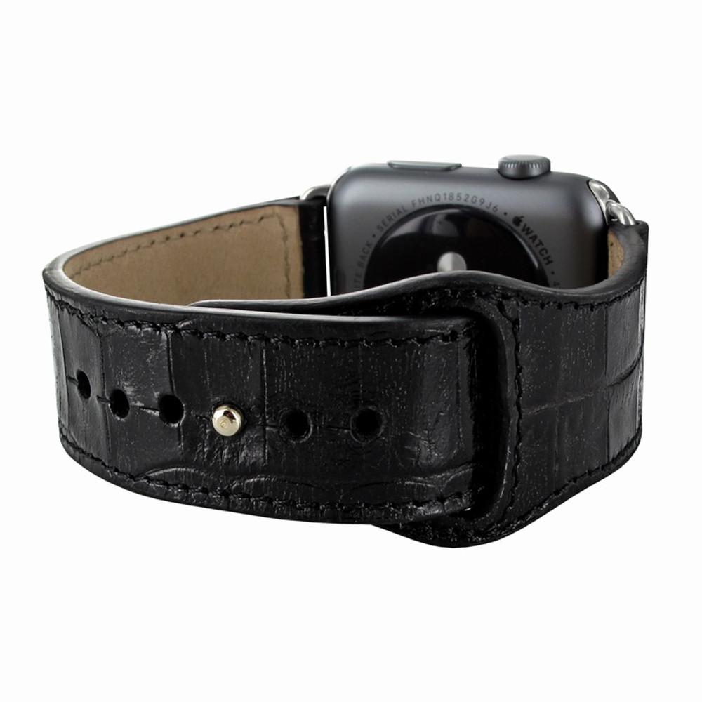 Piel Frama Apple Watch 42 mm Leather Strap - Black Cowskin-Crocodile / Silver Adapter