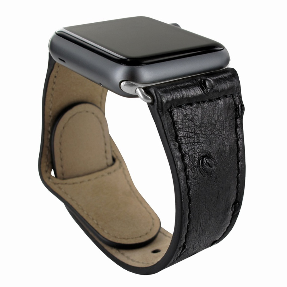 Piel Frama Apple Watch 42 mm Leather Strap - Black Cowskin-Ostrich / Silver Adapter