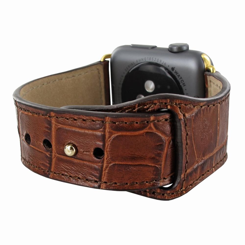 Piel Frama Apple Watch 42 mm Leather Strap - Brown Cowskin-Crocodile / Gold Adapter