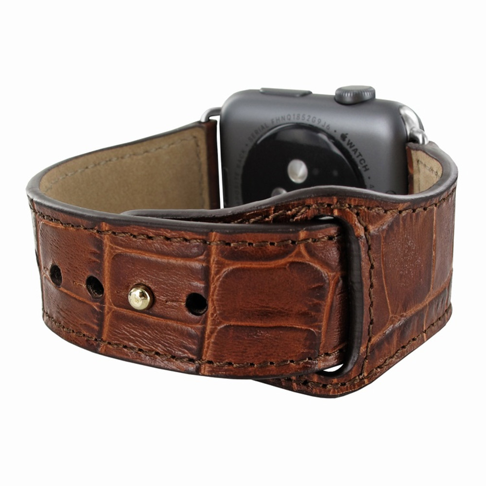 Piel Frama Apple Watch 42 mm Leather Strap - Brown Cowskin-Crocodile / Silver Adapter