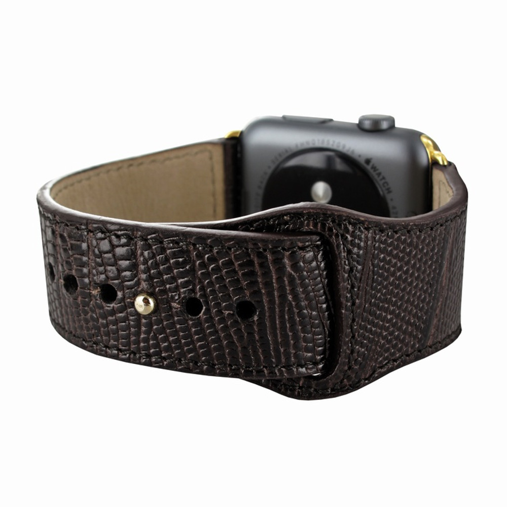 Piel Frama Apple Watch 42 mm Leather Strap - Brown Cowskin-Lizard / Gold Adapter