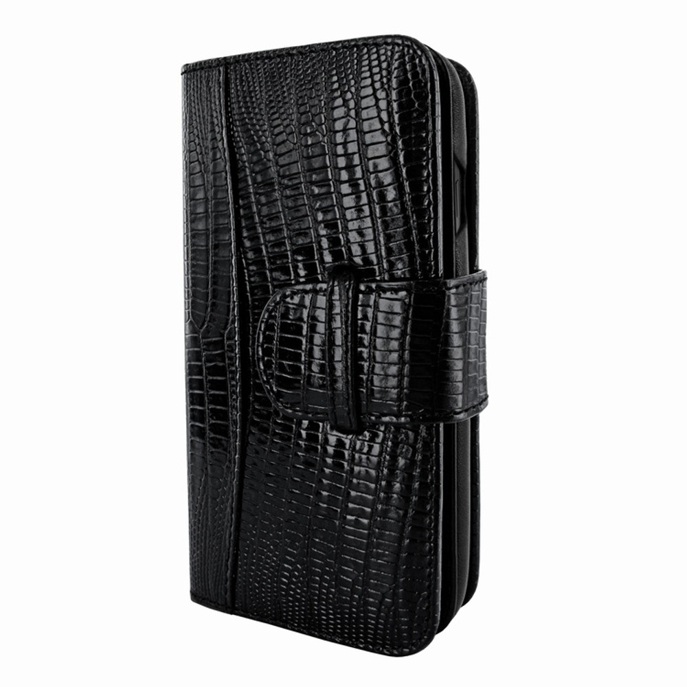 Piel Frama iPhone X WalletMagnum Leather Case - Black Cowskin-Lizard