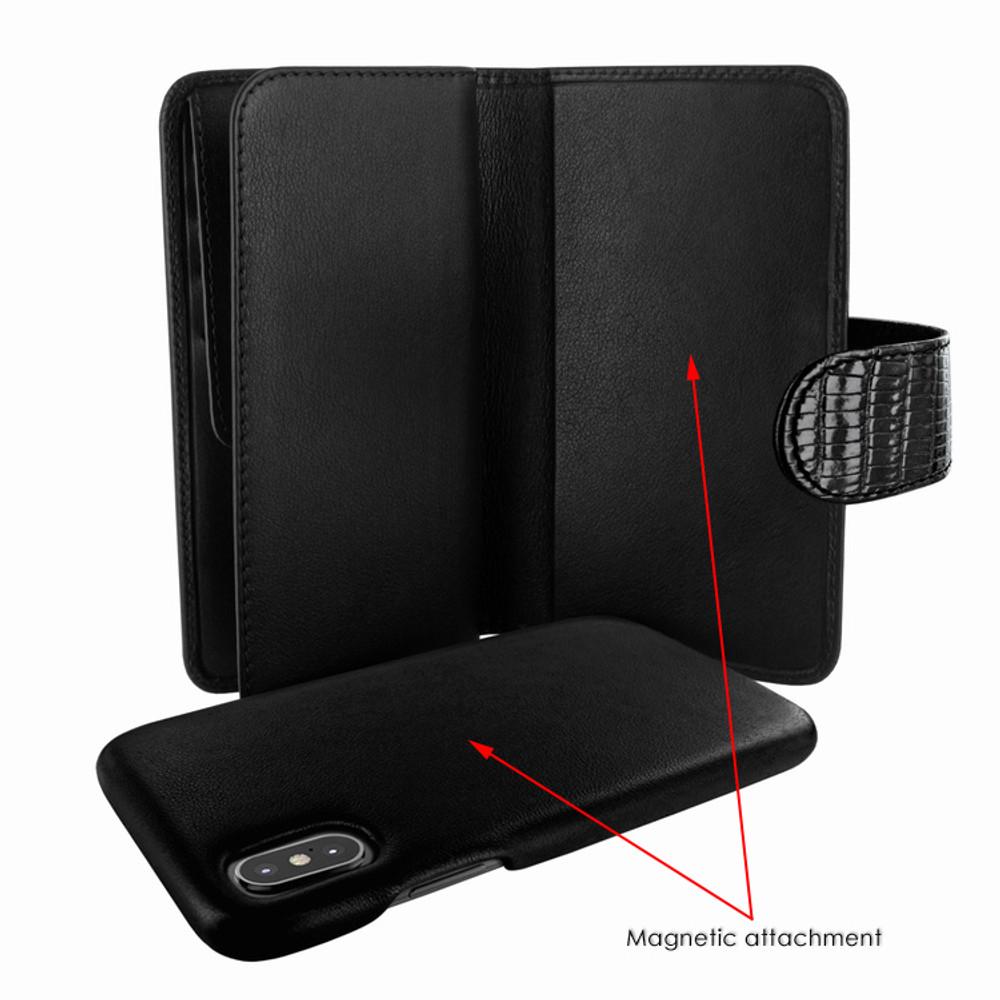 Piel Frama iPhone X WalletMagnum Leather Case - Black Cowskin-Lizard