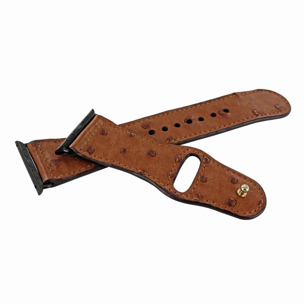 Piel Frama Apple Watch 42 mm Leather Strap - Tan Cowskin-Ostrich / Black Adapter