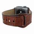 Piel Frama Apple Watch 38 mm Leather Strap - Brown Cowskin-Crocodile / Black Adapter