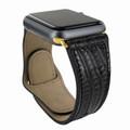 Piel Frama Apple Watch 42 mm Leather Strap - Black Cowskin-Lizard / Gold Adapter