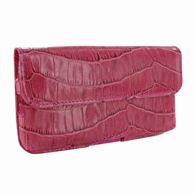 Piel Frama iPhone 6 Plus / 6S Plus / 7 Plus / 8 Plus Horizontal Pouch Leather Case - Fuchsia Cowskin-Crocodile
