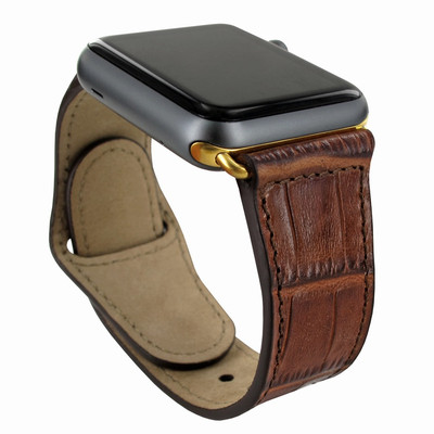 Piel Frama Apple Watch 38 mm Leather Strap - Brown Cowskin-Crocodile / Gold Adapter