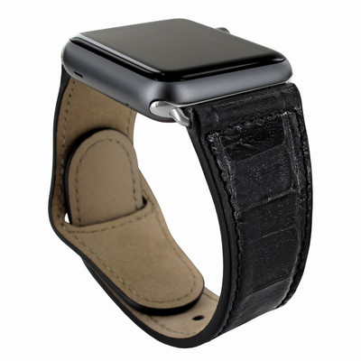Piel Frama Apple Watch 42 mm Leather Strap - Black Cowskin-Crocodile / Silver Adapter
