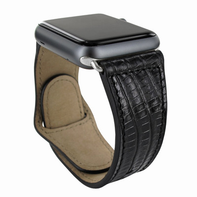 Piel Frama Apple Watch 42 mm Leather Strap - Black Cowskin-Lizard / Silver Adapter