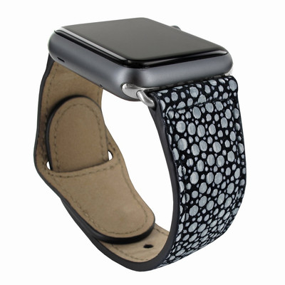 Piel Frama Apple Watch 42 mm Leather Strap - Black Cowskin-Stingray / Silver Adapter