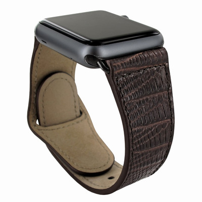 Piel Frama Apple Watch 42 mm Leather Strap - Brown Cowskin-Lizard / Black Adapter