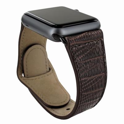 Piel Frama Apple Watch 42 mm Leather Strap - Brown Cowskin-Lizard / Black Adapter