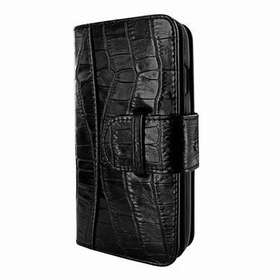 Piel Frama iPhone X WalletMagnum Leather Case - Black Cowskin-Crocodile