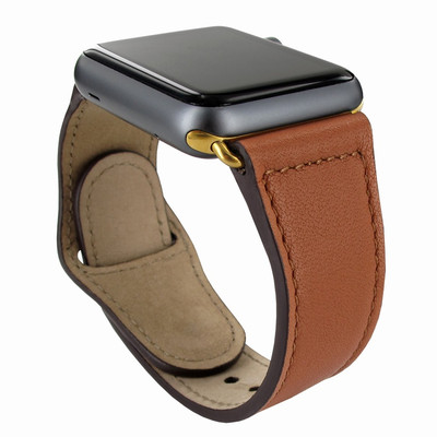 Piel Frama Apple Watch 42 mm Leather Strap - Tan / Gold Adapter