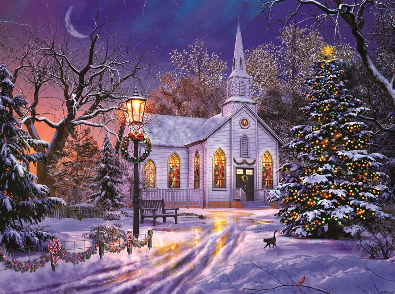The Old Christmas Church - 1000pc Jigsaw Puzzle By Sunsout ...