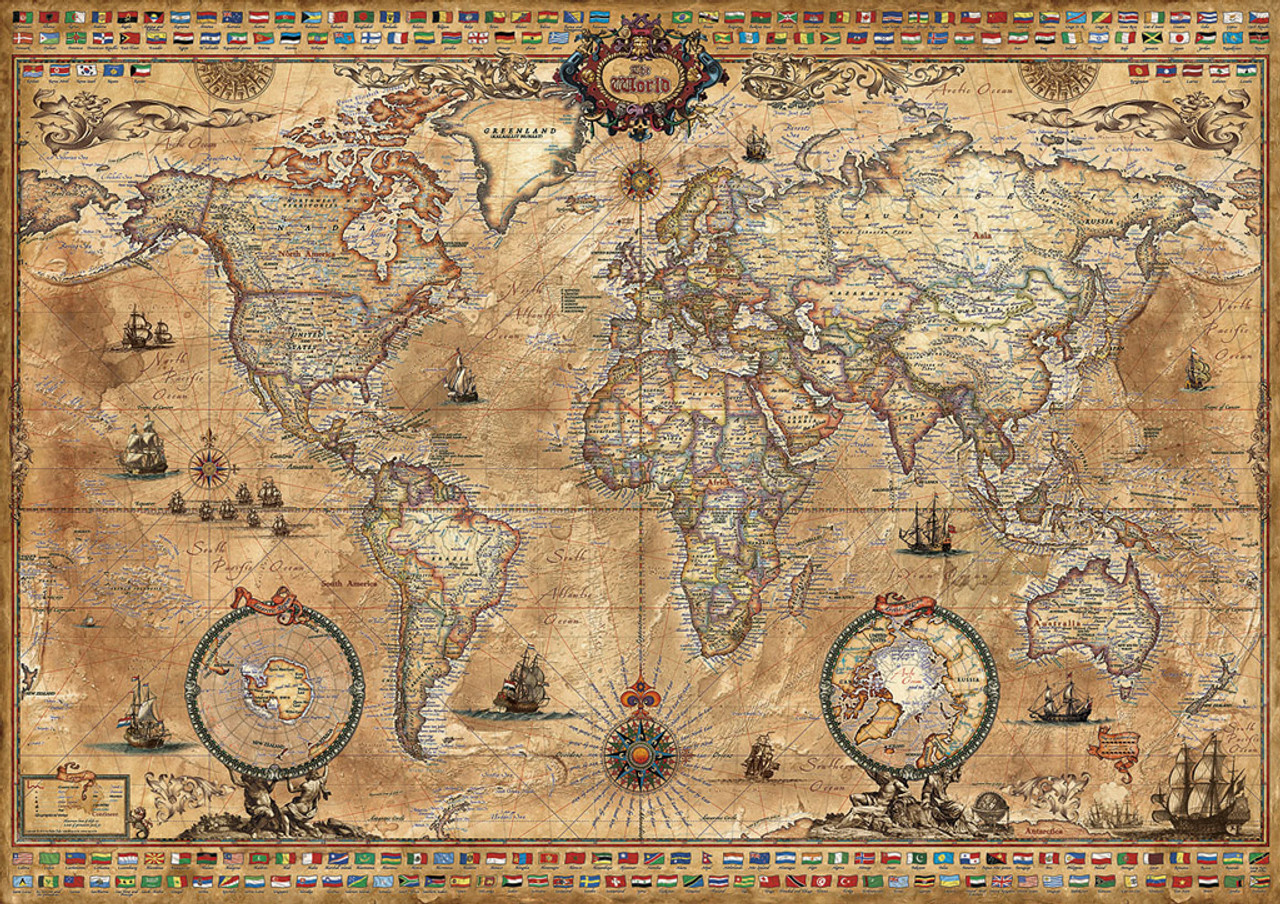 Antique world map 1000pc jigsaw puzzle by educa seriouspuzzles educa jigsaw puzzles antique world map gumiabroncs Choice Image