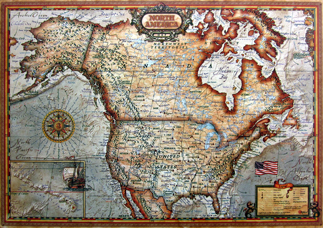 North America Map - 1000pc Jigsaw Puzzle By Educa - SeriousPuzzles.com