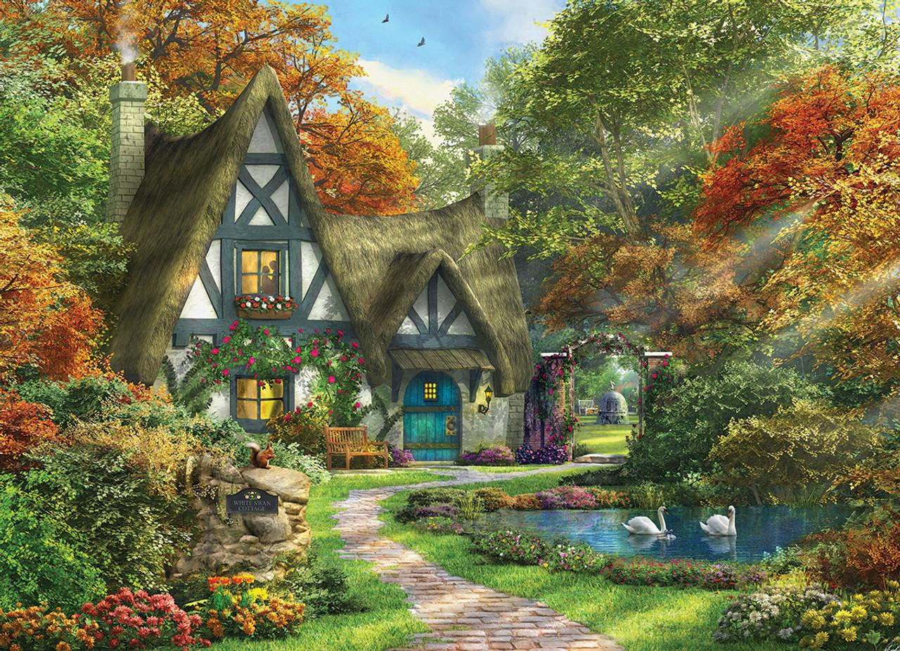 dominic davison white swan cottage 300pc jigsaw puzzle by