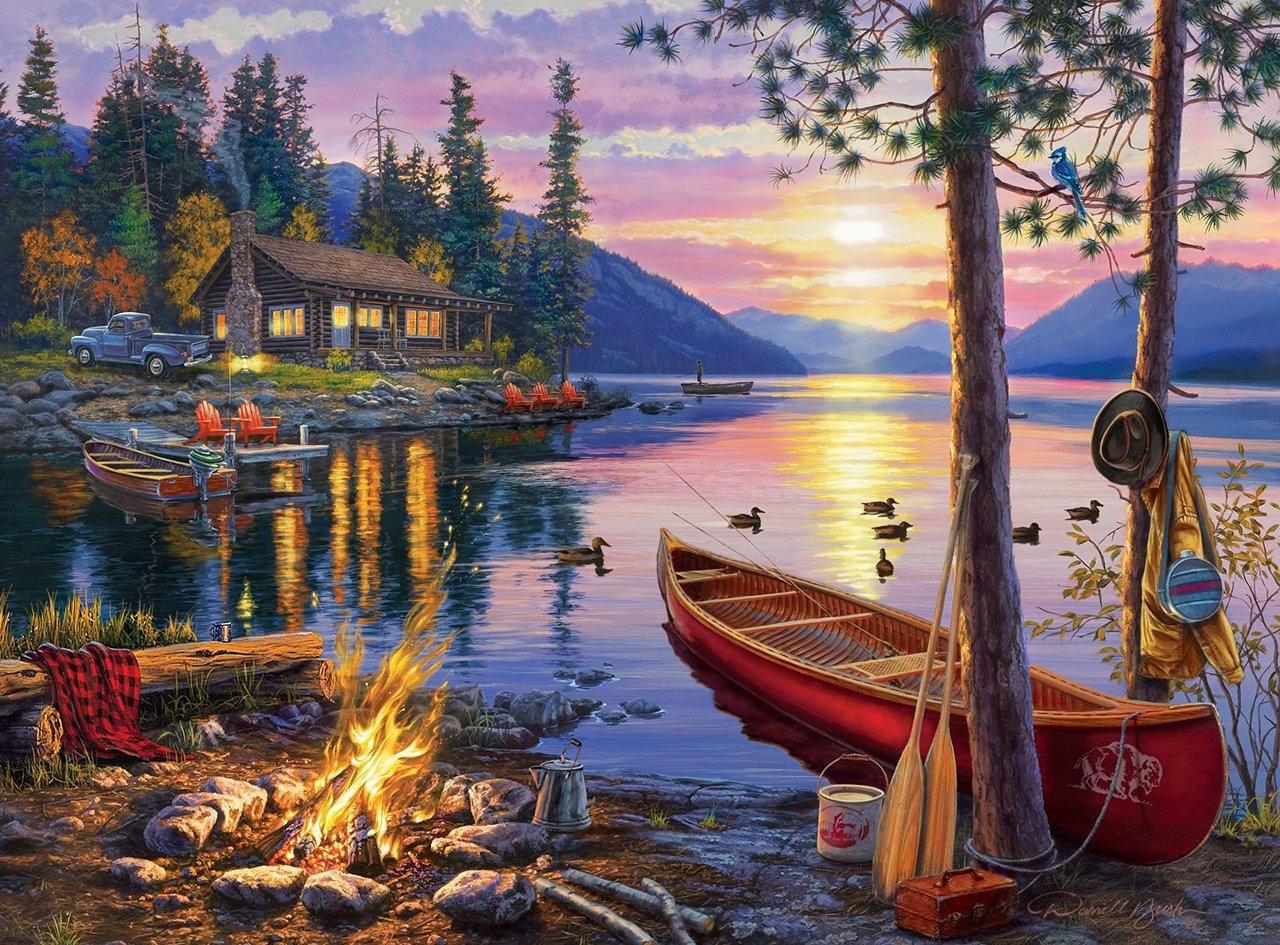 Darrell Bush Canoe Lake 1000pc Jigsaw Puzzle By Buffalo