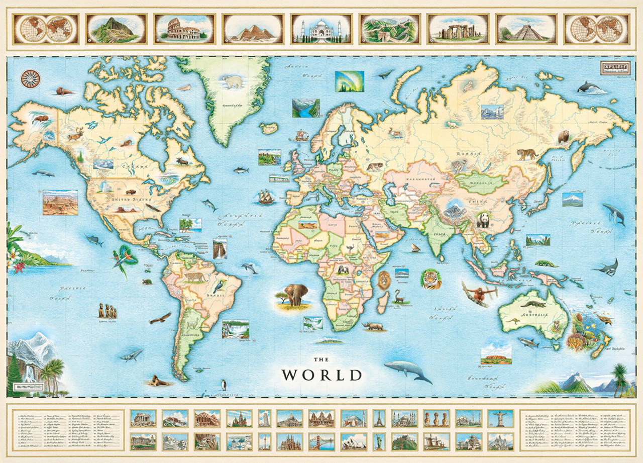 World map jigsaw puzzle 12 best puzzles vintage images on pinterest xplorer world map 1000pc jigsaw puzzle by masterpieces gumiabroncs Choice Image