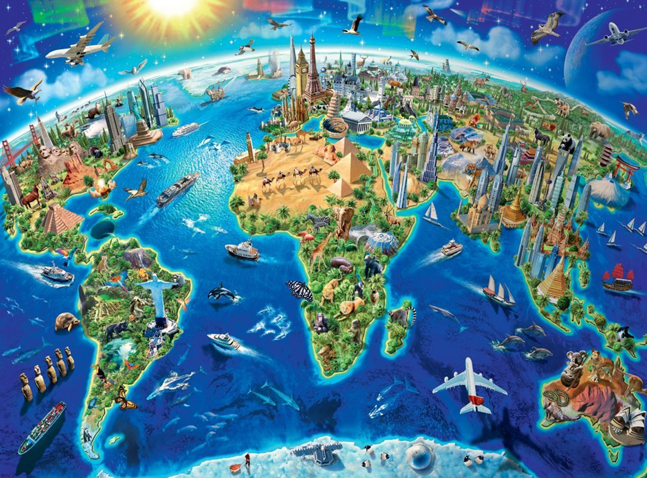 World landmarks map 300pc jigsaw puzzle by ravensburger world landmarks map 300pc jigsaw puzzle by ravensburger gumiabroncs Image collections
