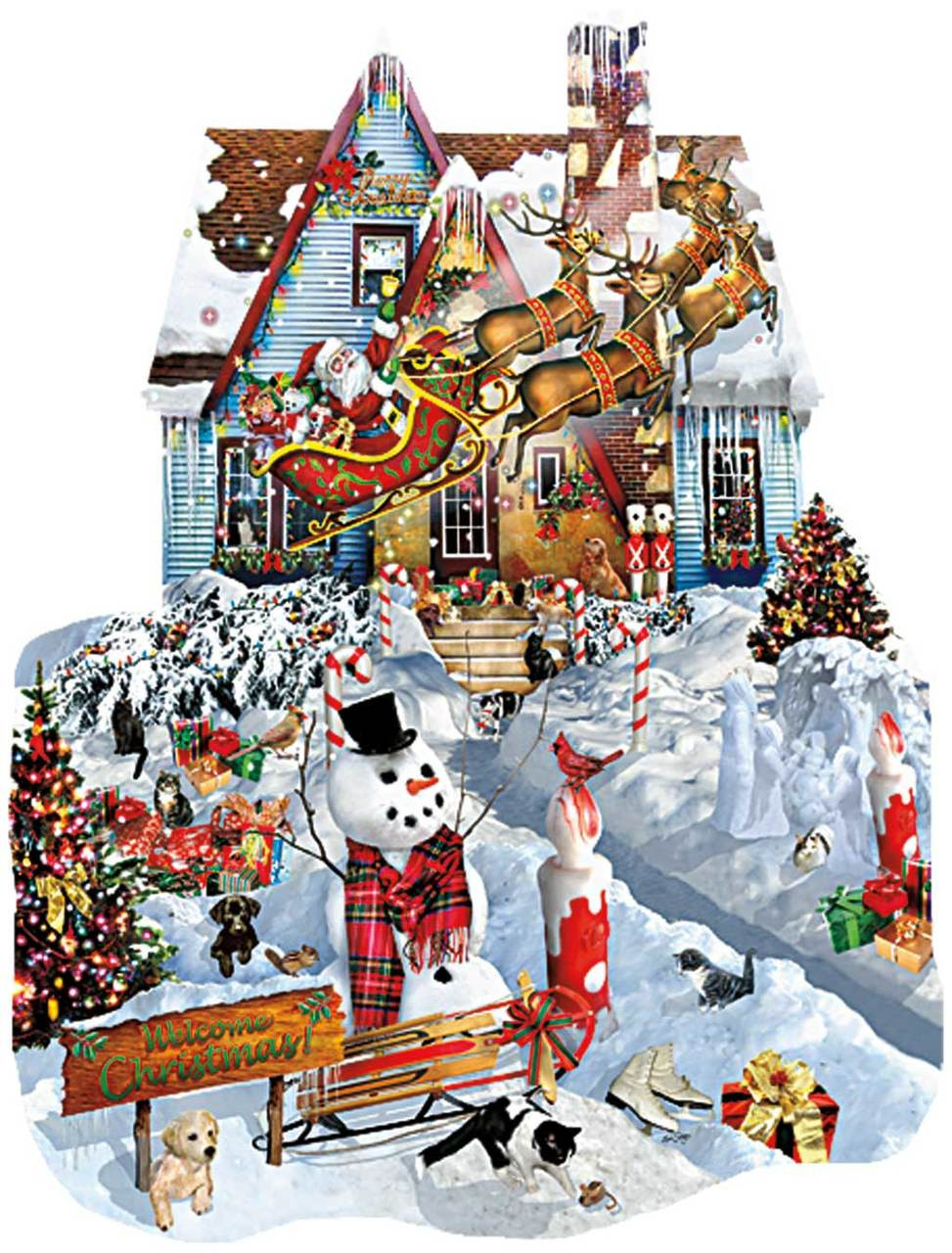shaped jigsaw puzzles christmas at our house