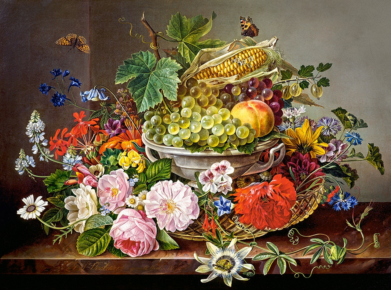 Still Life With Flowers And Fruit Basket