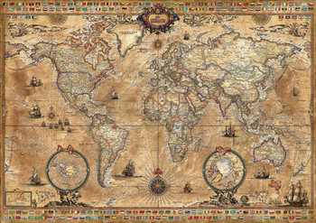 Educa jigsaw puzzles seriouspuzzles antique world map 1000pc jigsaw puzzle by educa gumiabroncs Choice Image