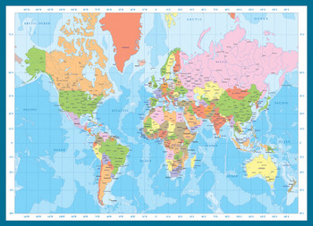 modern map of the world 1000pc jigsaw puzzle by eurographics