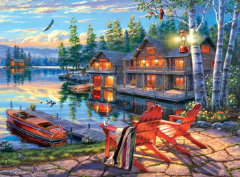Darrell Bush Moonlight Lodge 1000pc Jigsaw Puzzle By