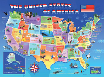 Ravensburger jigsaw puzzles page 11 seriouspuzzles usa state map 100pc jigsaw puzzle by ravensburger gumiabroncs Gallery