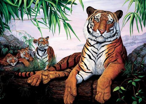 Tiger Family(discon) - 20pc Tray Puzzle by Cobble Hill (discon)