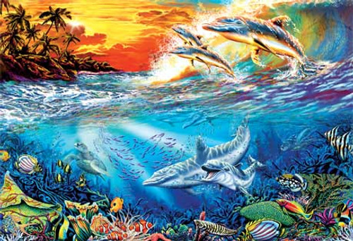Dolphin Secrets - 500pc Glow in the Dark Jigsaw Puzzle by Masterpieces (discon)