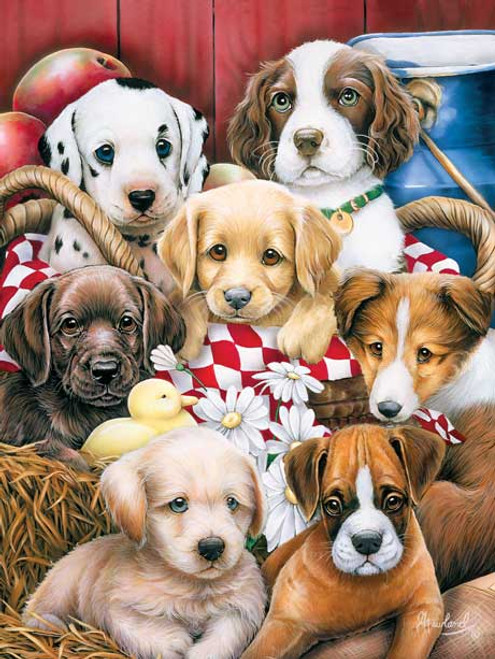 Picnic Basket Pups - 750pc Jigsaw Puzzle by Masterpieces (discon)