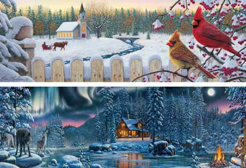 Winter Series - 2 x 500pc Panoramic Jigsaw Puzzle by Masterpieces (discon)