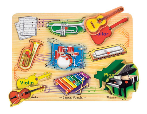 Musical Instruments - 8pc Wooden Sound Puzzle For Kids By Melissa & Doug (discon)