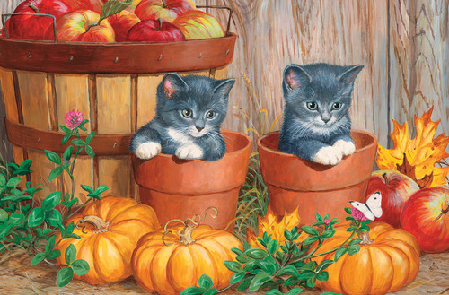 Kittens with Pumpkins - 60pc Kids Puzzle by Cobble Hill (discontinued)