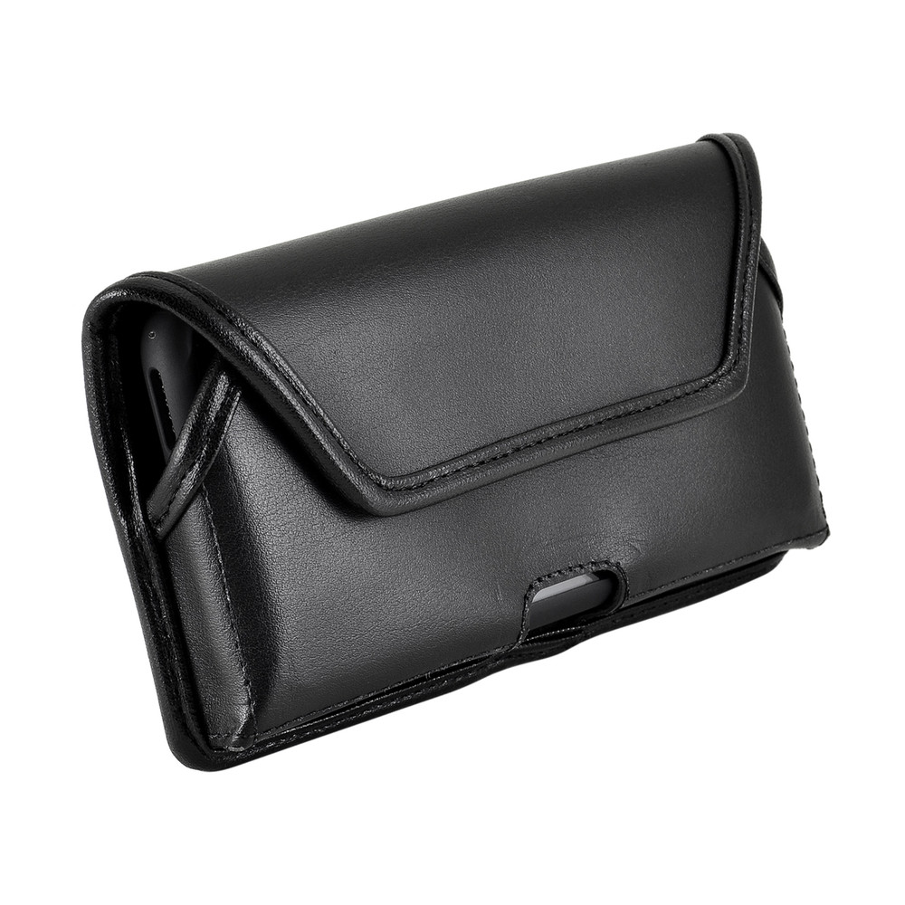 iPhone XS (2018) & iPhone X (2017) Belt Case Horizontal Holster Black Leather Pouch Heavy Duty Rotating Clip