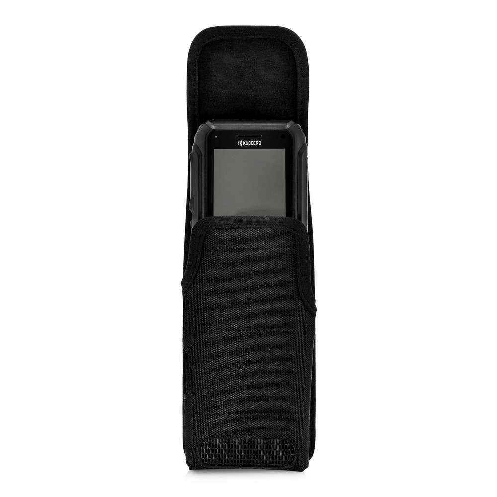 Kyocera DuraTR E4750 Black Nylon Pouch Holster Case with Heavy Duty Metal Rotating Belt Clip, Magnetic Flap