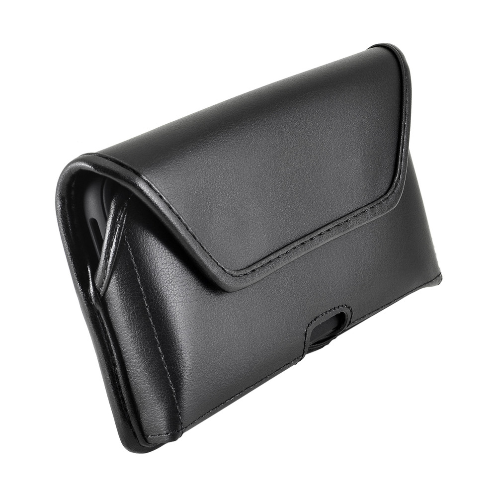 iPhone XS MAX (2018) Belt Case Horizontal Holster Black Leather Pouch Heavy Duty Rotating Clip