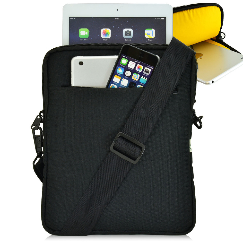 "Universal Tablet Pouch Shoulder Bag, Yellow Interior Fits Devices up to 10.5"" Inch"