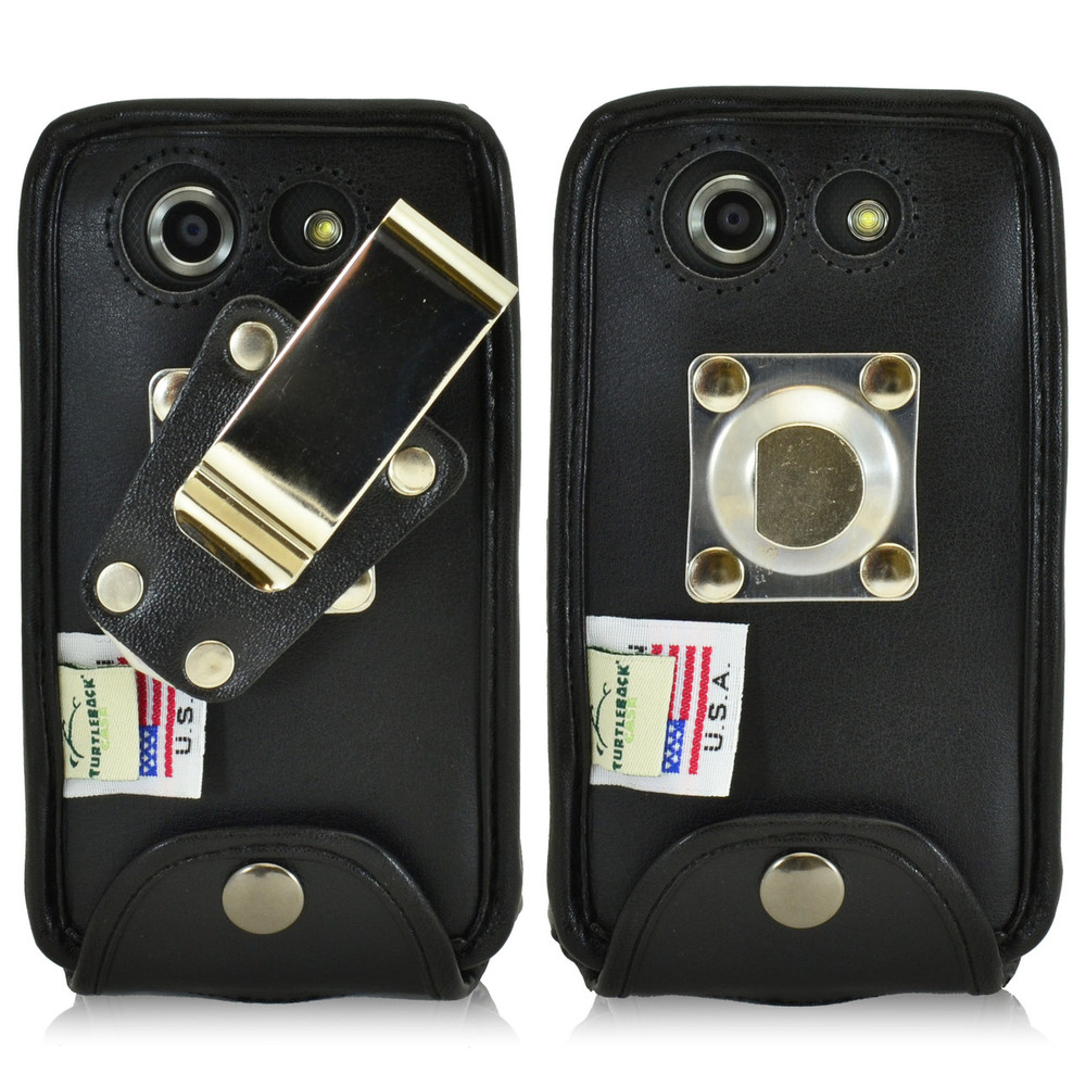 Kyocera DuraForce E6560 Heavy Duty Black Leather Phone Case with Removable Metal Clip