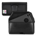 iPhone XS MAX (2018) Belt Holster Case Black Leather Pouch Executive Belt Clip Horizontal