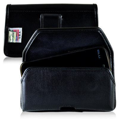 BLU Studio 5.0 II Leather Holster Case Black Belt Clip