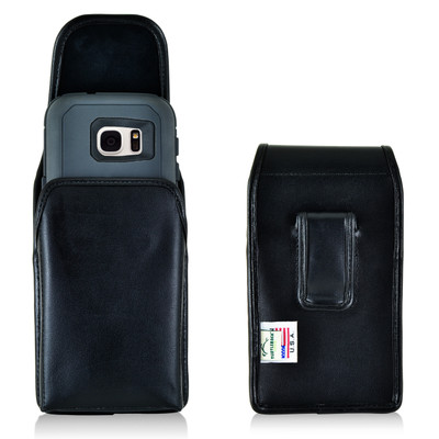 Galaxy S7 Extended Vertical Leather Fixed Clip Holster
