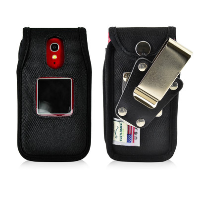Greatcall Jitterbug Flip Phone Case Black NYLON Belt Fitted Case Metal Removable Rotating Belt Clip
