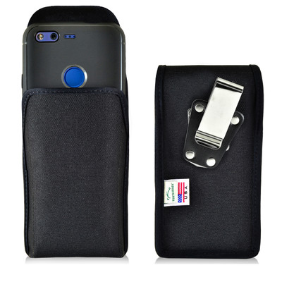 Google Pixel Belt Clip Case, Vertical Google Pixel Holster, Rotating Belt Clip, Black Nylon Pouch, Heavy Duty