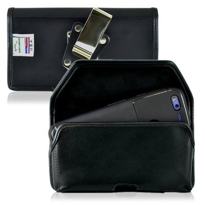 Google Pixel XL Belt Case, Google Pixel XL Holster, Black Leather Pouch with Heavy Duty Rotating Belt Clip, Horizontal